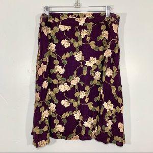 Vintage | Plus Size Floral Maroon Midi Skirt